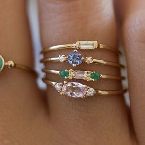 Beautiful Gold Matching CZ Ring Set of 4 pieces